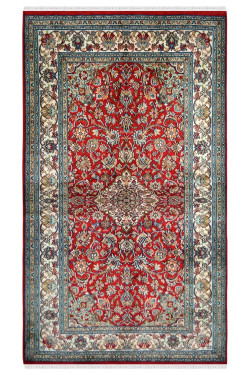 Floral on Red Persian Pattern Handmade Silk Carpet