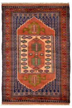 Afghani Handknotted Traditional Pattern Rust Area Rug