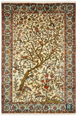 Hunting Tree Of Life Persian Ivory Small Size Kashmiri Silk Carpet