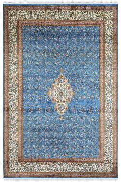Turquoise Medallion Classic Silk Carpet