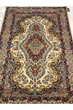 Traditional All Over Kashan Ivory Wool Area Rug
