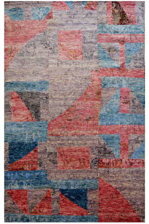 Pink Boxed Wool Area Abstract Rug