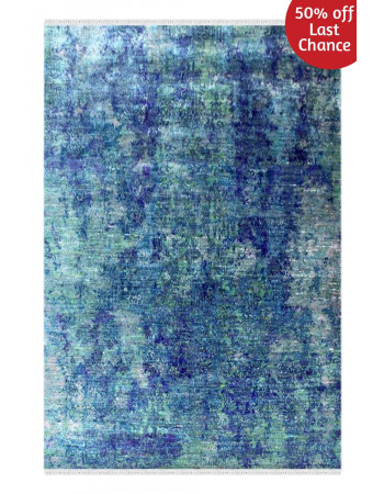 Aqua Marine Beautiful Sari Silk Carpet