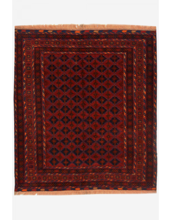 Red Panel Boho Kilim Carpet