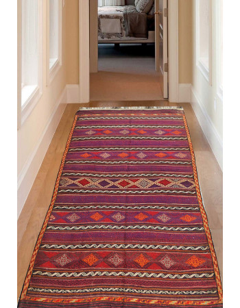 Diamond Chain Kilim Flat-Woven Area Rug