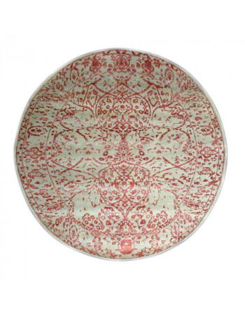Embossed Rust Round Wool Area Rug