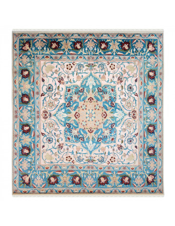 Turquoise Medallion Kashan Square Carpet