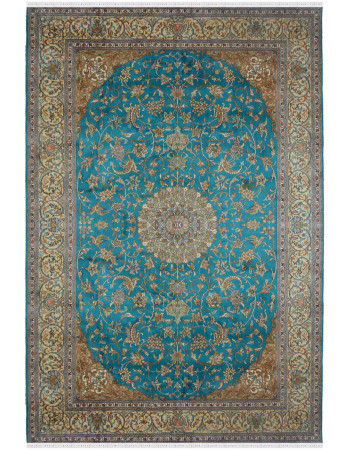 Turquoise Persian Kashan Pure Silk Rug