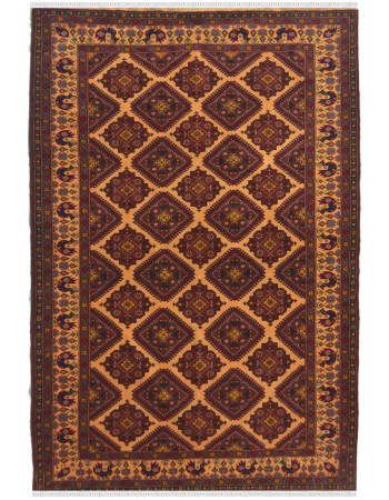 Brown Geometric Zig Zag Afghan rug