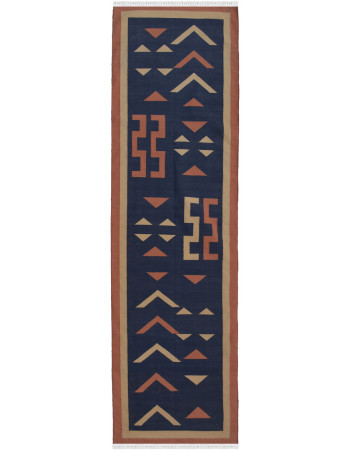 Afrikan Bottle Blue Dhurry Rug