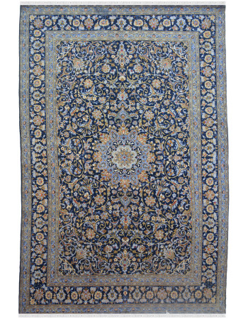 Blue Persian Kashan Floral Wool Carpet