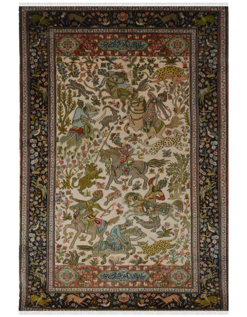 Ivory Hunting Pictorial Silk Rug