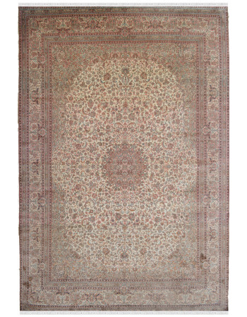 Oval Cream Kashmir Pure Silk rug