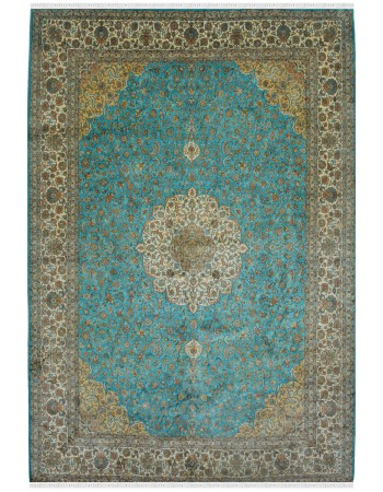 Firozi Kashan Medallion Silk Carpet