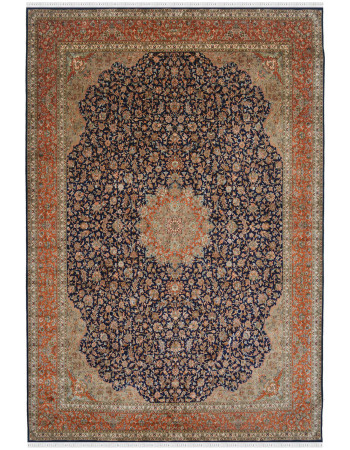 Blue Medallion Large Kashmir silk rug