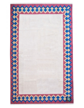 Dual Diamond Border Flat-Woven Dhurrie