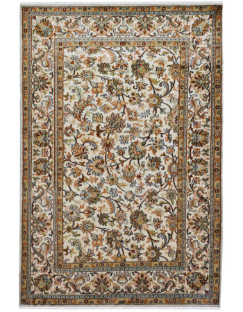 Ivory Isfahan Kashan Silk on Cotton Rug