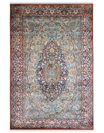 Oval Medallion Handknotted Silk Area Rug