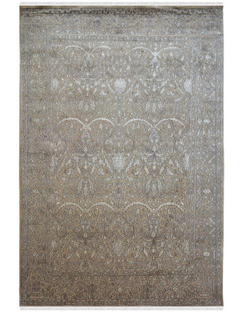Embossed Floral Grey Pastel Wool Area Rug