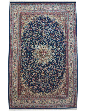 Blue Oval Medallion Area Floral Rug