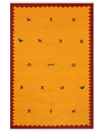 Yellow Motif Wool Area Dhurrie