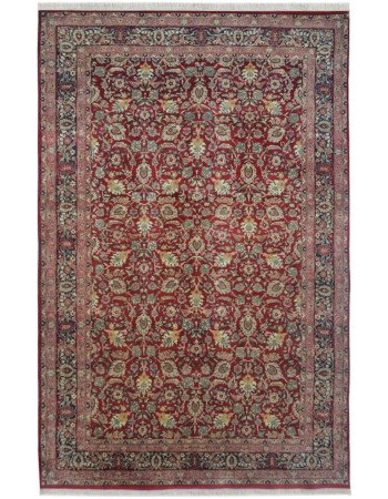 Maroon Bed of Flowers Wool Rug
