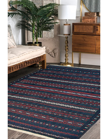Sea green Kilim Flat Woven Area Rug
