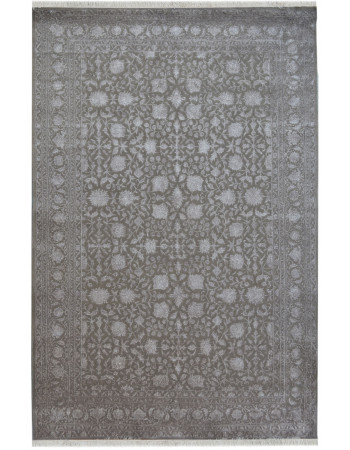 Embossed Floral Gray Wool Rug