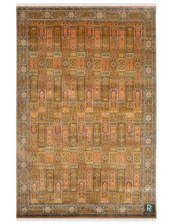 Jewel Mehandi Qum Silk Handknotted Carpet