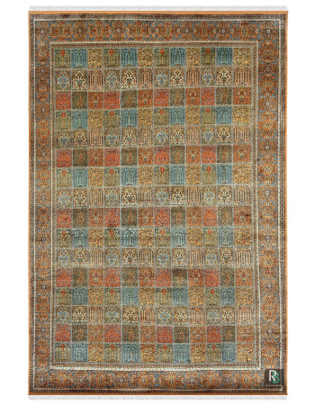 Beautiful Neel Qum Handknotted Kashmiri Silk Rug
