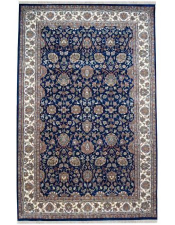 Blue Mughal Floral Fine Handknotted Rug