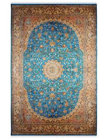 Turquoise Jewel Classic Hand knotted Silk Carpet