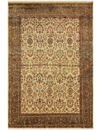 Ivory Jewel Handknotted Wool Area Rug
