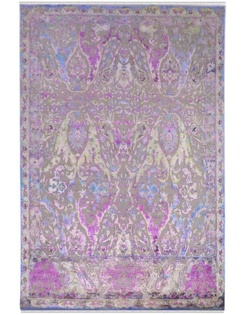Oxidized Pink Sari Silk Area Rug