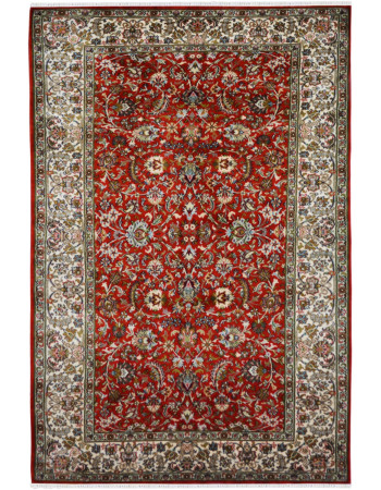 Red All Over Kashan Silk Area Rug