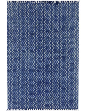 Cool Blue Indigo Printed Cotton Dhurrie