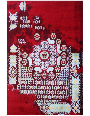 Imperfect Red Handmade Modern Carpet