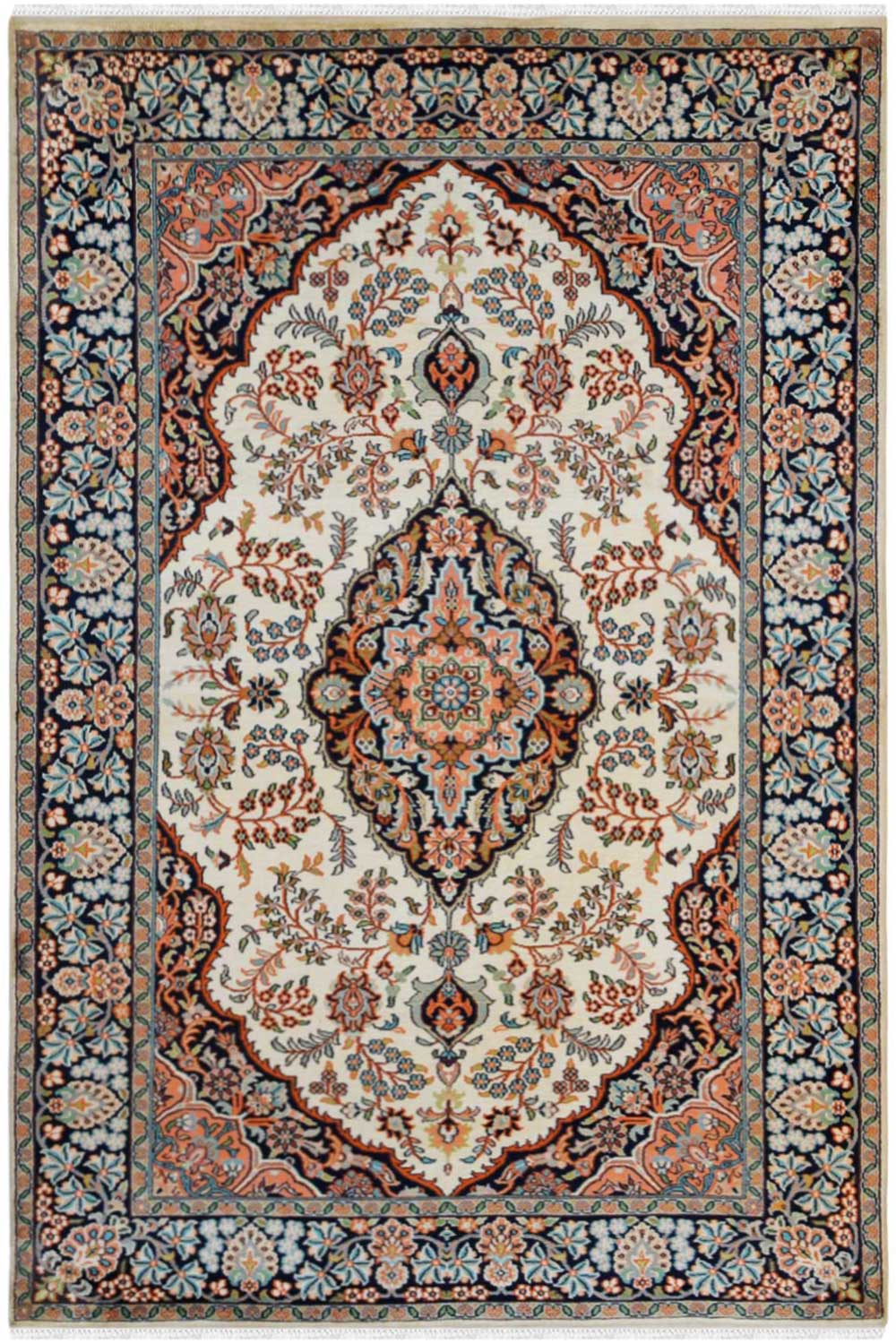 Buy Diamond Cream Kashan Rug Handmade Silk Rugs Rugs