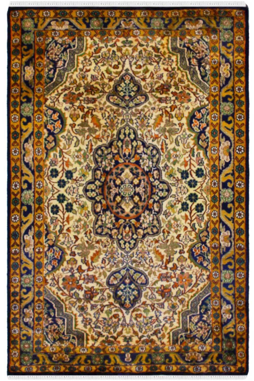 Kashan Mustered Kashmir Silk Rug In Cream Color At