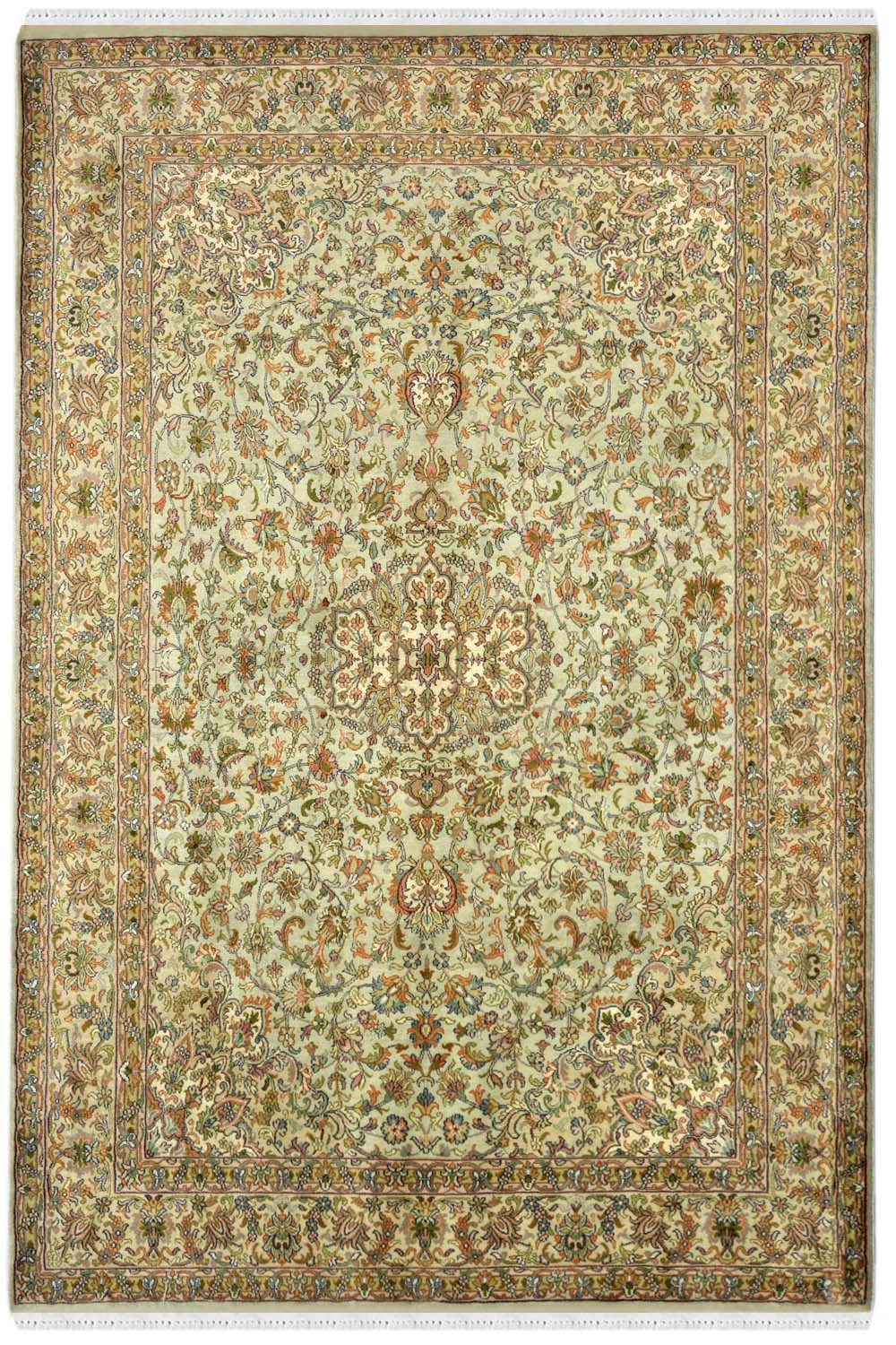 4x6 Pista Medallion Rug Gold Color Silk Area Rugs