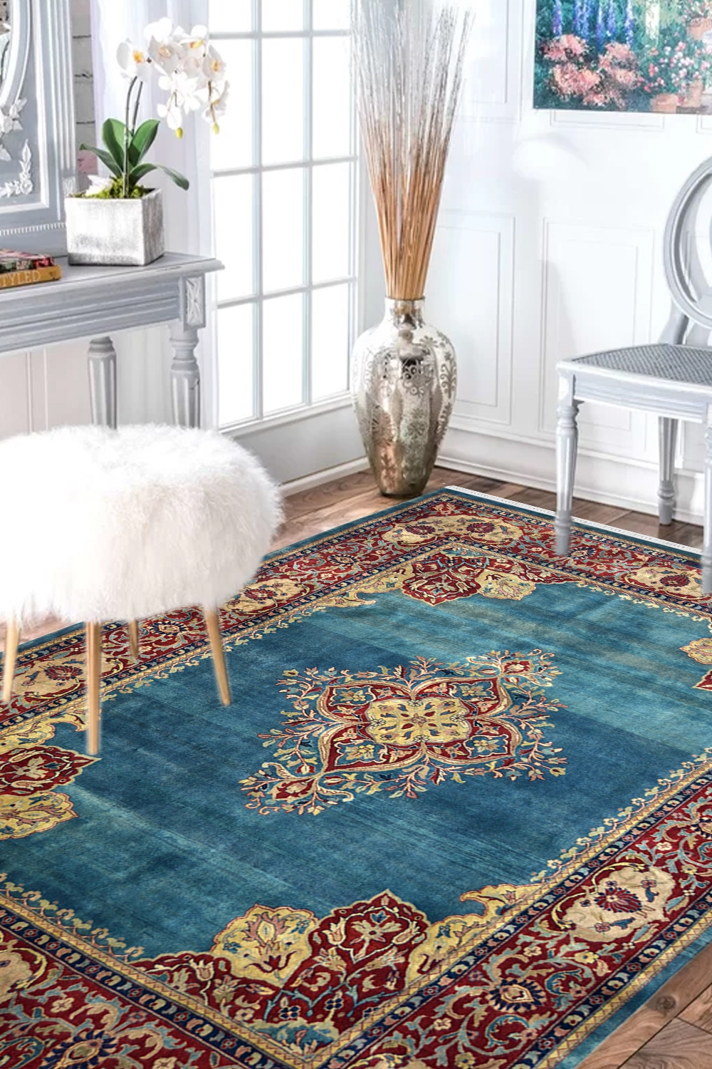 Buy Turquoise Medallion Classic Handknotted Woolen Area