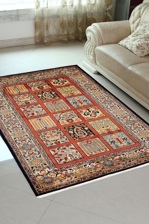Shop 2x3 Qum Peach Panel Rug Handmade Silk Carpet On Sale